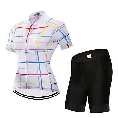 בגדי ריקוד נשים שרוולים קצרים חולצת ג'רסי ומכנס קצר לרכיבה לבן משובץ אופניים חליפות בגדים ייבוש מהיר ספורט משובץ רכיבת הרים רכיבת כביש ביגוד / סטרצ'י (נמתח)