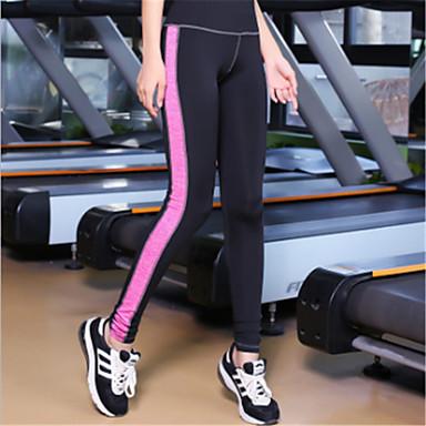בגדי ריקוד נשים מכנסי יוגה קולור בלוק ריצה כושר וספורט כושר אמון טייץ רכיבה על אופניים תחתיות לבוש אקטיבי נושם פתילת לחות ייבוש מהיר באט הרם סטרצ'י (נמתח) רזה
