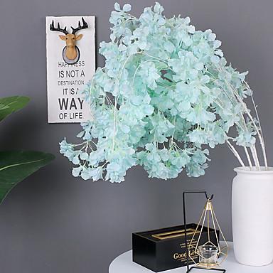 פרחים מלאכותיים 1 ענף קלאסי מסורתי חתונה סאקורה פרחים נצחיים פרחים לרצפה