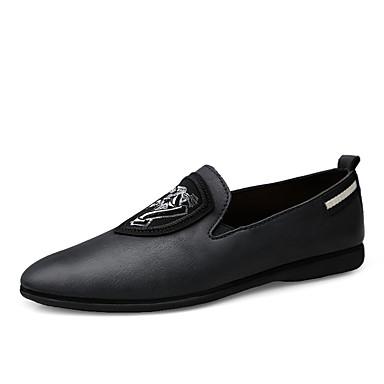 בגדי ריקוד גברים נעלי עור עור נאפה Leather אביב קיץ / סתיו חורף עסקים / יום יומי נעליים ללא שרוכים הליכה ללא החלקה כחול