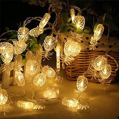 ราคาถูก ไฟประดับ-2m ไฟสาย 20 ไฟ LED ขาวนวล / White / หลากสี ปาร์ตี้ / Pineapple ใช้แบตเตอรี่ AA 1set