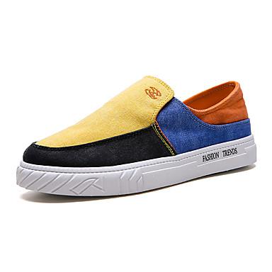 בגדי ריקוד גברים נעלי נוחות PU קיץ נעליים ללא שרוכים אפור / צהוב / כחול
