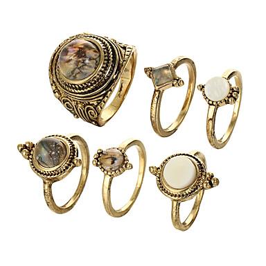 בגדי ריקוד נשים טבעת הגדר זירקונה מעוקבת 6pcs זהב / שחור סגסוגת מעגלי ארופאי חתונה תכשיטים חמוד