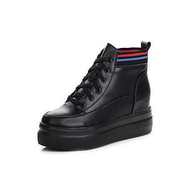 povoljno Ženske čizme-Žene Koža Jesen Čizme Creepersice Čizme do pola lista Crn