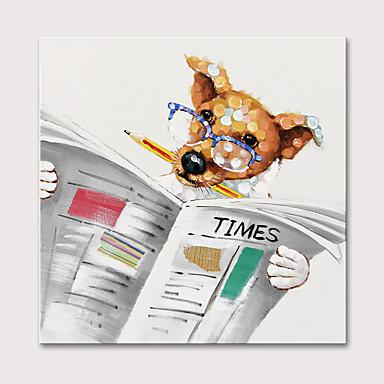 voordelige Olieverfschilderijen-Hang-geschilderd olieverfschilderij Handgeschilderde - Dieren Pop Art Modern Zonder Inner Frame