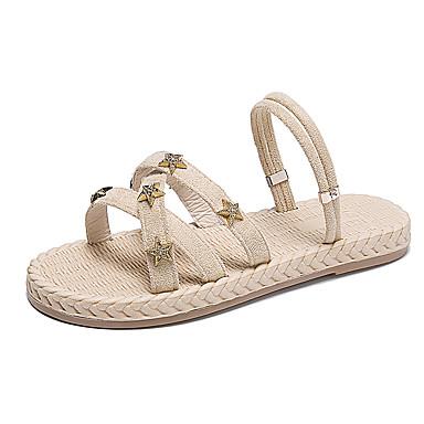 baratos Super Ofertas-Mulheres Sandálias Sem Salto Couro Ecológico Verão Preto / Amêndoa