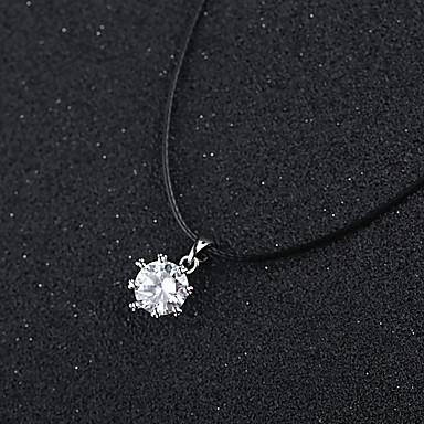 abordables Colliers-Collier Pendentif Femme Zircon Argent Zircon Mariage Argent 36 cm Colliers Tendance Bijoux 1pc pour Mariage Quotidien Rond