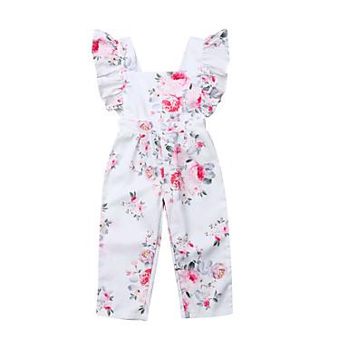 a88ccc28 billige Babyklær-Baby Jente Aktiv / Grunnleggende Blomstret Trykt mønster  Ermeløs Kjeledress og jumpsuit Rosa