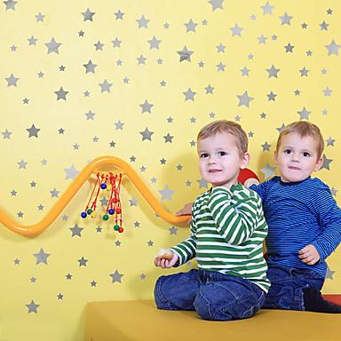 מדבקות קיר דקורטיביות - מדבקות קיר מטוס כוכבים חדר שינה / חדר ילדים