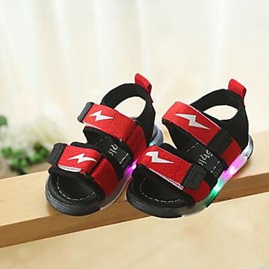 voordelige Babyschoenentjes-Meisjes Oplichtende schoenen Synthetisch Sandalen Kinderen / Peuter Zwart / Grijs / Rood Zomer / Rubber