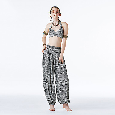 ריקוד בטן תלבושות בגדי ריקוד נשים הצגה 100% כותנה שניל סלסולים ללא שרוולים נפול עליון / מכנסיים