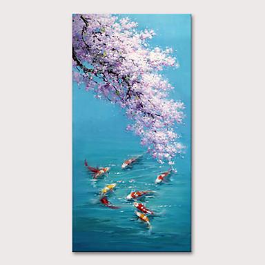 ציור שמן צבוע-Hang מצויר ביד - חיות פרחוני / בוטני מודרני ללא מסגרת פנימית