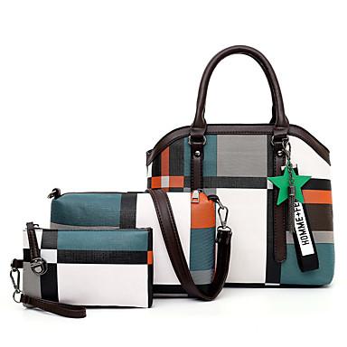 hesapli Çanta Setleri-Kadın's Çanta Setleri PU Geometrik Desenli 3 Adet Çanta Seti YAKUT / Kahverengi / Gök Mavisi