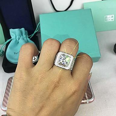 voordelige Heren Ring-Heren Kubieke Zirkonia Klassiek Ring Vreugde Stijlvol Modieuze ringen Sieraden Wit Voor Feest Dagelijks 7 / 8 / 9 / 10 / 11