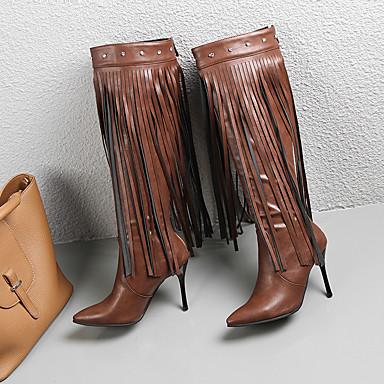 voordelige Dameslaarzen-Dames Britse stijl geruite schoenen PU Herfst winter Brits / minimalisme Laarzen Naaldhak Knielaarzen Kwastje Zwart / Bruin / Feesten & Uitgaan