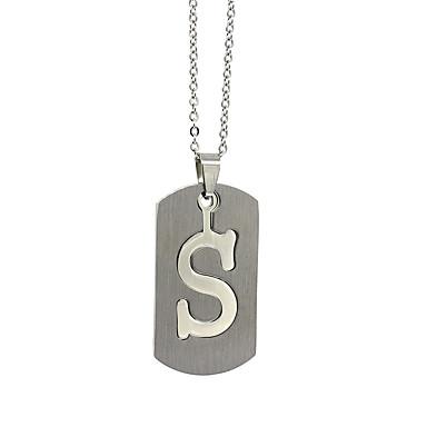 voordelige Herensieraden-Heren Dames Zilver Hangertjes ketting Charme ketting X Alfabetvorm Vintage Roestvast staal Zilver 50 cm Kettingen Sieraden 1pc Voor Dagelijks
