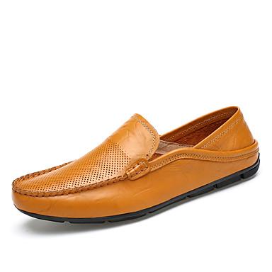 בגדי ריקוד גברים נעלי עור עור נאפה Leather סתיו / אביב קיץ עסקים / יום יומי נעליים ללא שרוכים הליכה ללא החלקה שחור / חום / כחול