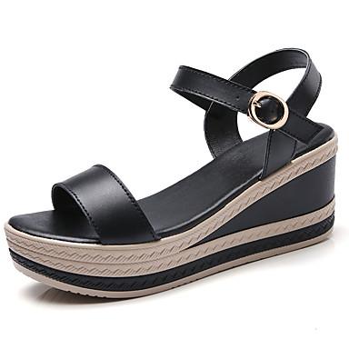 voordelige Damessandalen-Dames Sandalen met sleehak Leer Lente & Herfst / Zomer Brits / minimalisme Sandalen Wandelen Sleehak Open teen Wit / Zwart / Beige / Feesten & Uitgaan