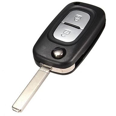 voordelige Auto-interieur accessoires-Sleutelbehuizing met 2 knoppen voor Renault Clio Kangoo Megane Bland-mes