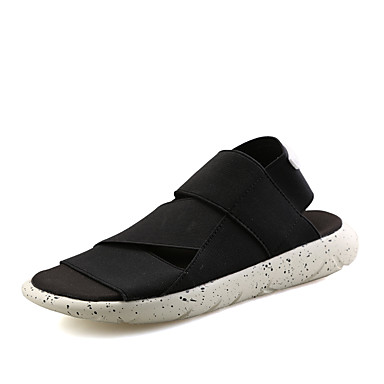 baratos Super Ofertas-Homens Sapatos Confortáveis Tecido elástico Primavera Verão Casual Sandálias Não escorregar Botas Curtas / Ankle Preto / Branco / Preto / Roxo