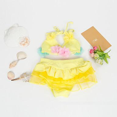 baratos Roupas de Banho para Meninas-Infantil Para Meninas Básico Floral Roupa de Banho Vermelho