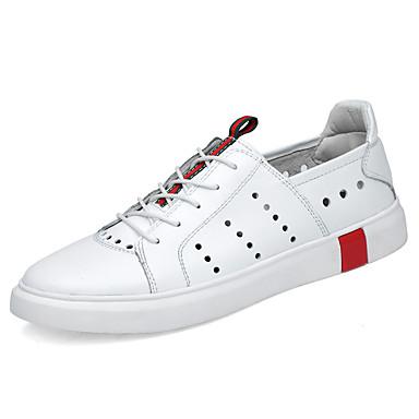 בגדי ריקוד גברים נעלי עור עור נאפה Leather קיץ קלסי / יום יומי נעלי ספורט הליכה נושם לבן / שחור
