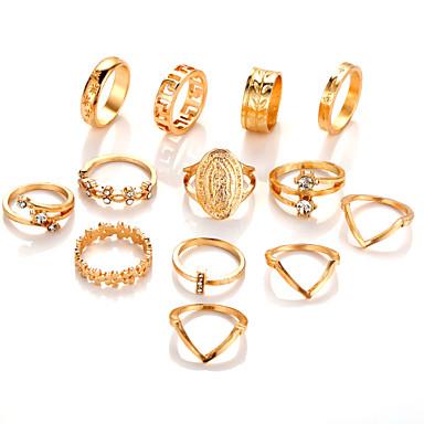 בגדי ריקוד נשים טבעת הגדר זירקונה מעוקבת 13pcs זהב סגסוגת מעגלי ארופאי חתונה תכשיטים חמוד