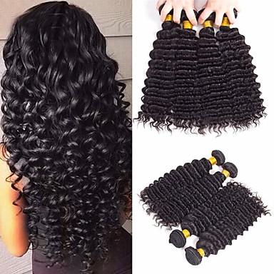 4 חבילות שיער ברזיאלי גל עמוק שיער בתולי טווה שיער אדם הארכה שיער Bundle 8-28 אִינְטשׁ צבע טבעי שוזרת שיער אנושי ללא ריח יצירתי משיי תוספות שיער אדם