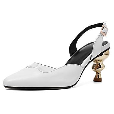 voordelige Damessandalen-Dames Sandalen Leren schoenen Heterotypic Heel Gepuntte Teen Nappaleer Klassiek / Informeel Zomer Wit / Zwart / Feesten & Uitgaan