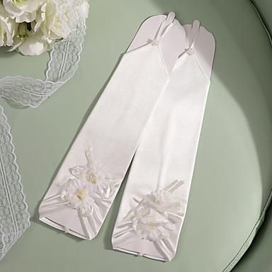 abordables Gants de Fête-Satin Elastique / Satin Longueur Coude Gant Fête / Soirée / Elégant Avec Broderie / Fleur / Couleur Unie