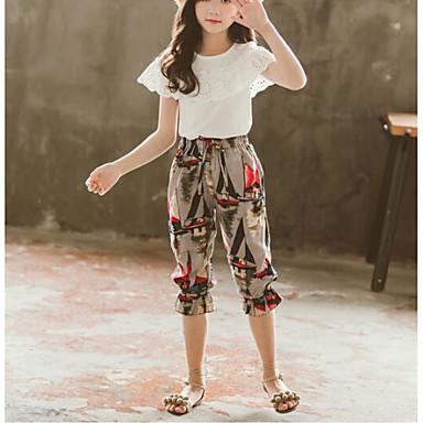 preiswerte Mode für Mädchen-Kinder Mädchen Aktiv Boho Solide Blumen Schleife Druck Kurzarm Standard Standard Polyester Elasthan Kleidungs Set Weiß