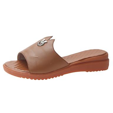 voordelige Damespantoffels & slippers-Dames Slippers & Flip-Flops Comfort schoenen Sleehak Open teen Microvezel Informeel / minimalisme Zomer Zwart / Beige / Bruin