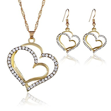 בגדי ריקוד נשים כסף זהב שרשראות תליון עגילים סט גיאומטרי לב טרנדי עגילים תכשיטים זהב / כסף עבור חגים 2