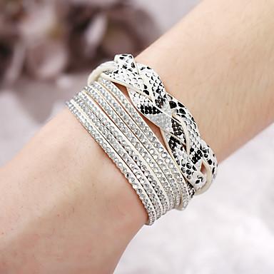 abordables Bracelet-Bracelets en cuir Femme Tressé Twist Circle Punk Branché Bracelet Bijoux Blanc Marron pour Quotidien Vacances