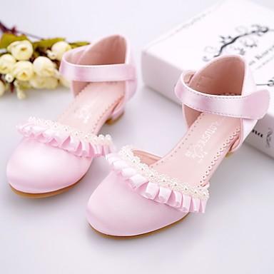 povoljno Cipele za djevojčice-Djevojčice Saten Cipele na petu Obuća za male djeveruše / Sitni pete za mlade Light Pink / Kristalne Proljeće / Ljeto / Zabava i večer / Guma