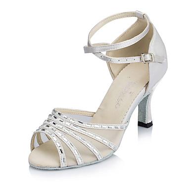 baratos Sapatos de Salsa-Mulheres Sapatos de Dança Cetim Sapatos de Dança Latina Cristal / Strass Salto Salto Carretel Personalizável Branco / Couro / Ensaio / Prática