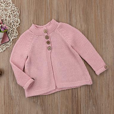 baratos Suéteres & Cardigans para Meninas-Infantil Bébé Para Meninas Activo Básico Sólido Manga Longa Lã Algodão Suéter & Cardigan Rosa