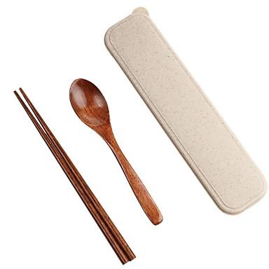 2 חלקים כפית כלי אוכל עץ יצירתי