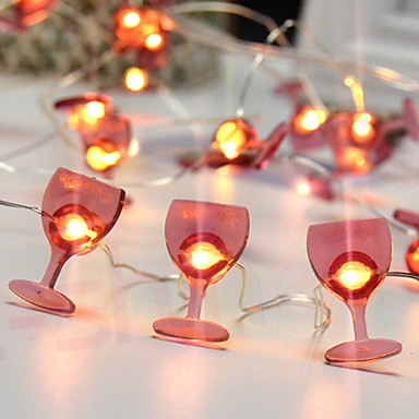 3m יין זכוכית מחרוזת אורות 20 מדים חם לבן מועדון בר פסטיבל חג החג 3v 1set