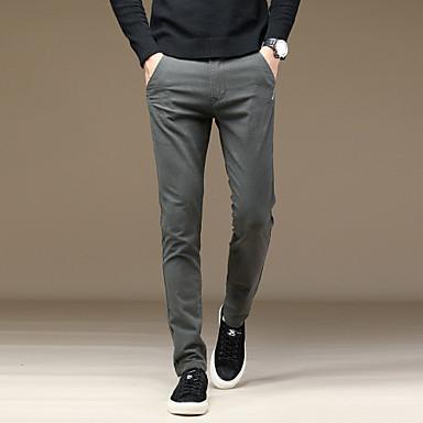 בגדי ריקוד גברים בסיסי חליפות / צ'ינו מכנסיים - אחיד כותנה שחור חום אפור כהה 29 30 31