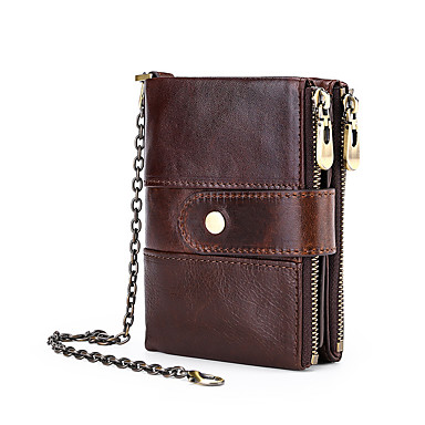 91a169cc569a Men's Chain Wallet Cowhide Solid Color Red / Coffee / Brown