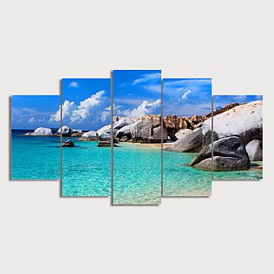 דפוס הדפסי בד מגולגל - L ו-scape ימי מודרני חמישה פנלים הדפסים אמנותיים