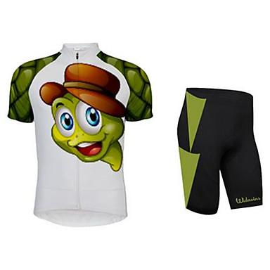 בנים בנות שרוולים קצרים חולצת ג'רסי ומכנס קצר לרכיבה - בגדי ריקוד ילדים ירוק חיה אנימציה אופניים חליפות בגדים נושם פתילת לחות ספורט לייקרה חיה רכיבת כביש ביגוד / סטרצ'י (נמתח) / רוכסן YKK