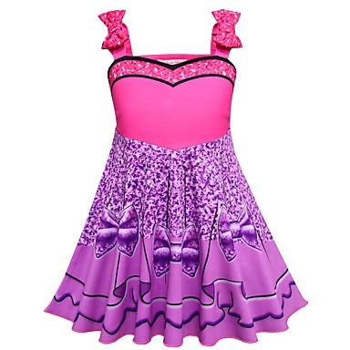お買い得  女児 ドレス-子供 幼児 女の子 活発的 ストリートファッション パッチワーク ノースリーブ 膝上 ドレス パープル