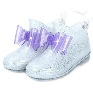 hesapli Kız Çocuk Ayakkabıları-Genç Kız PVC Çizmeler Büyük Çocuklar (7 yaş +) Yağmur Botları Beyaz / Mor / Pembe Bahar / Bootiler / Bilek Botları