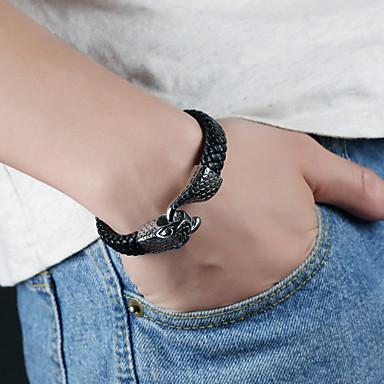 voordelige Herensieraden-Heren Lederen armbanden loom Bracelet crossover Band Stijlvol Uniek ontwerp Punk modieus Titanium Staal Armband sieraden Zwart Voor Feest Lahja Dagelijks Carnaval Club
