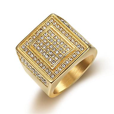voordelige Herensieraden-Heren Ring Kubieke Zirkonia 1pc Goud Titanium Staal Rond Casual / Sporty Modieus Lahja Dagelijks Sieraden Klassiek Gelukkig Cool