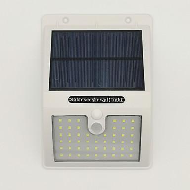 billige Utendørsbelysning-1pc 10 W Solar Wall Light Vanntett / Solar / Infrarød sensor Varm hvit / Kjølig hvit 3.7 V Utendørsbelysning / Courtyard / Have 48 LED perler