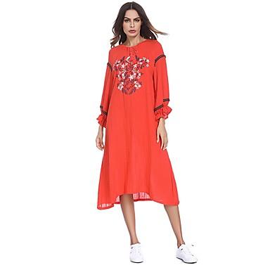 לבוש מסורתי ותרבותי שמלות בגדי ריקוד נשים לבוש יומיומי כותנה ריקמה / דוגמא \ הדפס שמלה