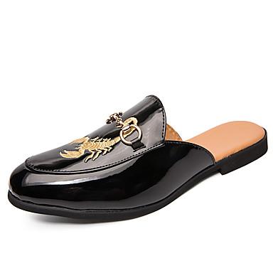 בגדי ריקוד גברים נעלי נוחות עור אביב קיץ / סתיו חורף יום יומי סוגי כפכפים נושם לבן / שחור